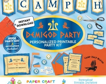 Demigod Printable Party Kit | Demigod Invite & Decorations | INSTANT DOWNLOAD and Edit in Adobe Reader | Percy Jackson Party