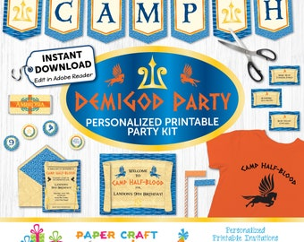 Demigod Party - Printable Demigod Invite & Decorations - Instantly Download and Edit at Home with Adobe Reader - Percy Jackson