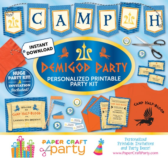 Demigod Printable Party Kit Demigod Invite Decorations – Percy Jackson Birthday Invitations