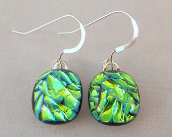 Small Green Dichroic Fused Glass Dangle Earrings, Fused Glass, Fused Glass Earrings, Glass Earrings, Dichroic Earrings, Dangle Earrings