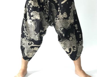 HC0074 Samurai Pants Men's Fahion Harem Pants Yoga Pants Casual Cotton Bottoms