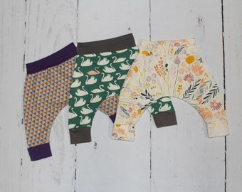3-6 Month Harem Pants, Baby and Kids Harem Pant Leggings, Assortment of Fabric Choices in Listing