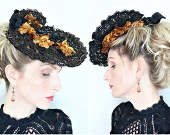 Antique Hat / 1900s Hat / Edwardian / Gold Flowers / Lace / Straw / Sequins / Glass beads