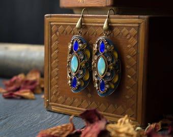 Ethnic blue boho earrings,Tibetan jewelry earrings,long massive earrings,Native American style earrings,dangle and drop bohemian earrings