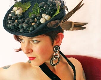 Custom Order: Vintage 1940s-Style Wool Felt Tilt Hat with Grapes, Veiling, and Faux Bird