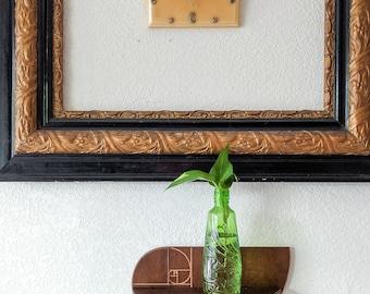 Small Wooden Wall Shelf with Golden Spiral design