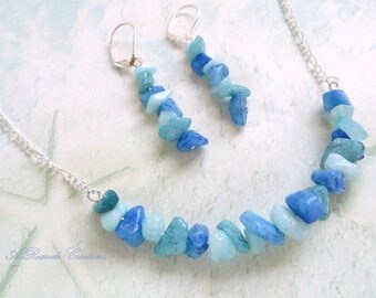 Beaded Jewelry Set Casual Blue Aqua Quartz Necklace Set Spring Summer Jewelry Fashion Jewelry Bar Necklace and Earrings Beach Jewelry