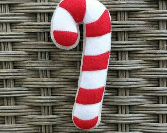 Felt christmas candy cane biscuit ornament