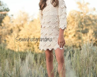 Size 7T, Cream Cotton Lace Dress, Crochet Flower Girl Short Dress, Rustic Mini Wedding, Long Sleeves Girl  Dress, Champagne Dress