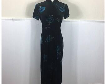 1990s Black Velvet Floral Cheongsam by K Petite, Medium