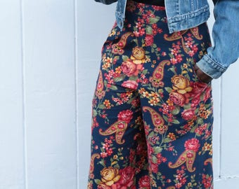 Russian folk floral print cotton culottes UK size 10-12 vintage floral trousers flares handmade by The Emperor's Old Clothes