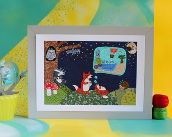 Fox Print - Woodland forest with baby fox print for nursery or bookshelves - A4 Print