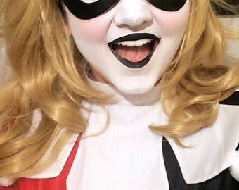Harley Quinn Veg Tan Leather Cosplay Costume Mask