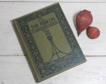Vintage Beacon Third Reader - 1914 - James H. Fassett - Charles Copeland - Antique Child's School Book