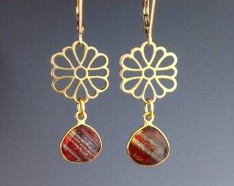 Vermeil Gold Earrings - Red Earrings - Gold Jewelry - Quartz Jewelry - bezel set gemstone earrings - Christmas Jewelry - Red Stripe