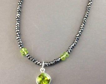 Peridot Necklace - Peridot Jewelry - Peridot Pendant - August Birthstone Jewelry - Hematite Necklace - Hematite Jewelry - Peridot Drop