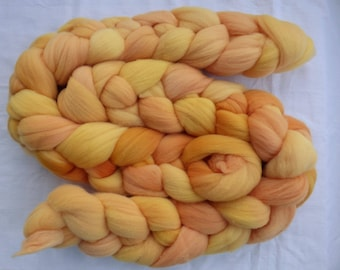 Peach Rambouillet - Hand Dyed Wool Roving (Top) - 100g