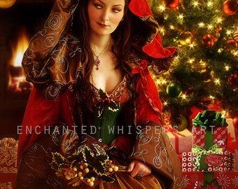 Christmas art print, Christmas Goddess art, fantasy X-mas print, Holiday print, Holiday Goddess, fantasy woman print, digital painting
