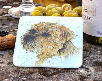Dog Coaster - Border Terrier, Animal Coaster, Glass Coaster, Drinks Mat