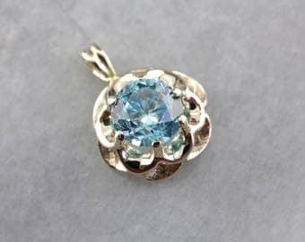 Floral Blue Zircon Gold Pendant, Blue Zircon Pendant, Zircon Gemstone Pendant, Birthstone Pendant RUZD0R-D