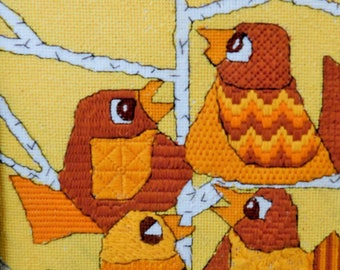 """Vintage, Needlepoint, Four Calling Birds"""" Small, Hand Crafted, Framed, 12 1/4"""" x 10 1/4"""""""