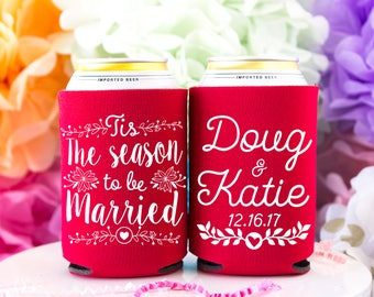 Christmas Wedding, Christmas Can Cooler, Winter Wedding, Holiday Wedding, Christmas Favors, Wedding Favors, December Wedding, Christmas