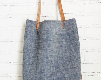 Chambray Denim tote bag w/Veg Tanned Leather Straps
