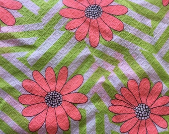 """Vintage Cotton Pique Fabric- Bright Pink, Chartreuse Green Floral // 59x46"""" > Unused > waffle weave, birdseye"""