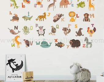 Alphabet Wall Decal - Nursery Wall Decal - Animal Wall Decal - Playroom Wall Decal, Alphabet Decal, Alphabet Nursery Art, Wall Art - 01-0044