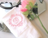 Fingertip towels, embroidered towels, personalized towels, monogrammed, bathroom. hand towel, august ave, lace towel, white, lace, towel bar