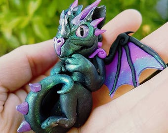 Black and Purple Baby Dragon with Aventurine