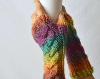 Colorful Knit Fingerless Gloves, Striped Arm Warmers, Merino Wool,  Gifts for Her, Hand Warmers, Cable Knitwear Accessories, Long Gloves