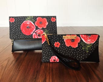 Floral Print, Fold Over Clutch, Wristlet, Faux Leather Clutch, Vegan Leather Clutch, Leather Wristlet, Bridesmaid Clutch,