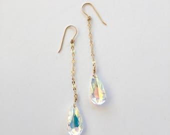 14k Gold Filled Dangling Swarovski Crystal Earrings