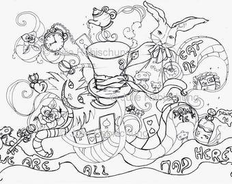 Alice coloring pages Etsy