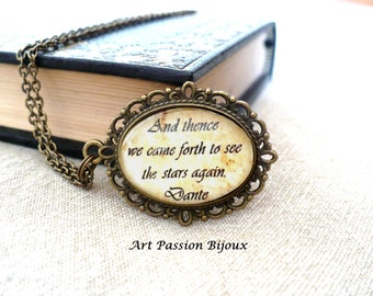 DANTE Divine Comedy, english or italian quote pendant, book necklace, stars necklace, poetry necklace, gift for book lover, 15% off ship