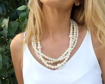 Ivory Bridal Necklace, Chunky Wedding, pearl jewelry