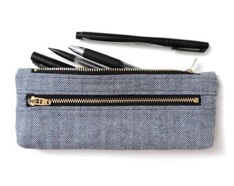 Blue Herringbone Pencil Case Double Zipper Pouch Blue Fisher Stripe