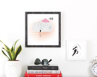 Falling Girl - Digital Collage with Illustration - Printable Art - Digital Download