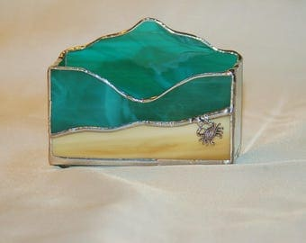 Sea, Sand and Sand Crab Business Card Holder Teal Green Blue Stained Glass Hand Made Ready to Ship Gift Perfect Office Desk Accessory