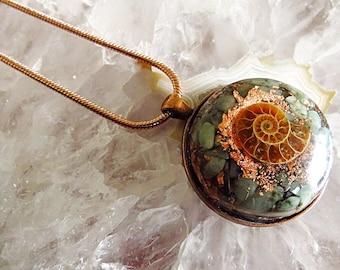 Powerful Orgone Pendant - Emerald/Pyrite/Ammonite - FREE WORLDWIDE SHIPPING!