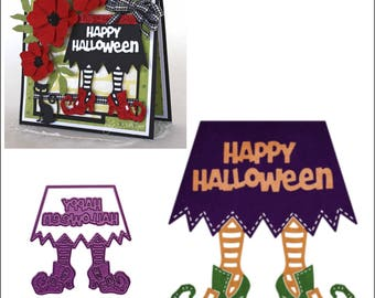 Witch's Skirt cutting dies - Happy Halloween Cheery Lynn metal Die - words witch B853 Cuttlebug & most machine compatibility