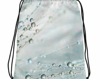 Wispy Blue Bag, Ethereal Drawstring bag, Drawstring Bag, Overnight Bag, Book Bag, Kids Bag, Flower Girl Gift, Sports Bag, Teen Bag, Gym Bag