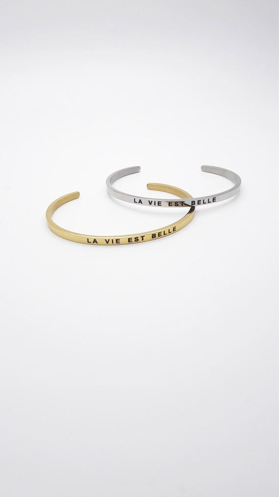La Vie est belle message bangle bracelet gold or silver plated stainless steel//Thin Minimalist Stacking Inspirational Quote engraved cuff