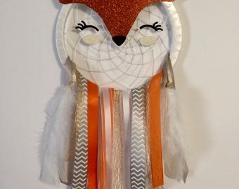 Dream catcher. Cute fox face dream catcher. Nursery room decor. Babyshower gift.