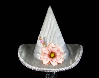Silver Gray and Pink Paper Flower Mini Witch Hat, Halloween, Festival Hat, Derby Hat