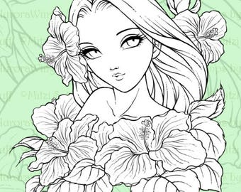 PNG Digital Stamp - Instant Download - Spirit of Hibiscus - digistamp - Fantasy Line Art for Cards & Crafts by Mitzi Sato-Wiuff
