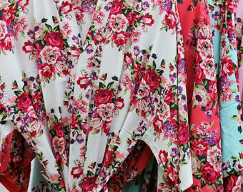 Bridesmaid robes, Cotton floral robe, Personalized robe, Floral Kimono robe, Bridal Robes, Bridesmaid gift, Getting ready photo Bridesmaids