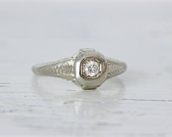 Edwardian Engagement Ring | 1920s Ring | Art Deco Ring | Antique Filigree Ring | Dainty Promise Ring | 18k White Gold Ring | Size 5.75