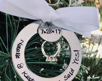 Personalized engagement ornament custom engagement ornament she said yes will you marry me engagement ring engagement date first christmas
